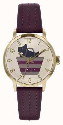 Radley |女式紫色皮革表带|打印狗在袋子拨号| RY2796