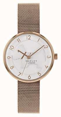 Radley  女式玫瑰金网手链 白色浮雕狗表盘 RY4392