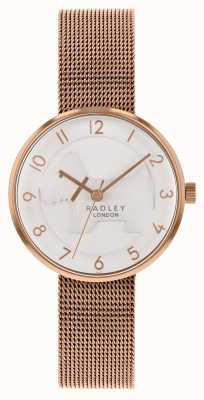 Radley |女式玫瑰金网手链|白色浮雕狗表盘 RY4392