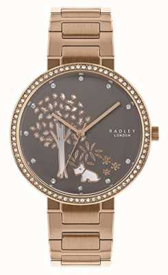 Radley  女式玫瑰金钢手链 白色/灰色树拨号  RY4386