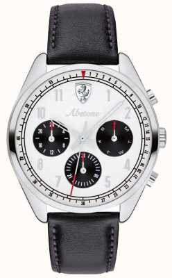 Scuderia Ferrari 男士黑色皮革表带手表白色表盘 0830569
