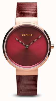 Bering 女装|经典|红色pvd镀钢网手链 14531-363