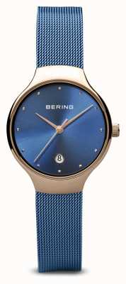 Bering 女装经典|蓝色pvd镀蓝色网眼手链 13326-368