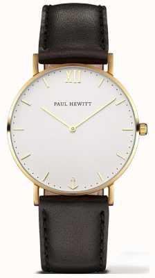 Paul Hewitt |男女通用水手线手表|黑色皮革表带| 6450854