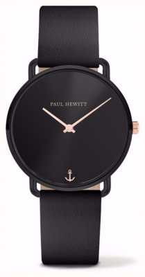 Paul Hewitt |女士想念海洋|黑色皮革表带| PH-M-B-BS-32S