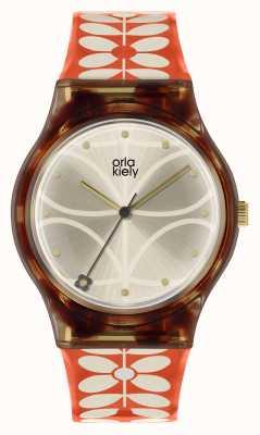 Orla Kiely |女式手表|黑色案例| 60年代的干式印花带| OK2316