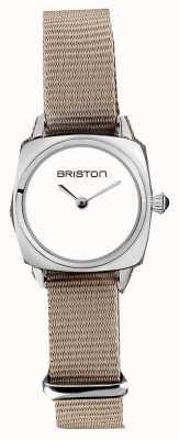 Briston | clubmaster女士|灰褐色北约单肩带|白色表盘| 19924.S.M.2.NT - SINGLESTRAP