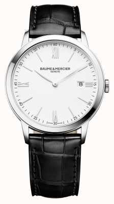 Baume & Mercier |男装|黑色皮革表带|白色表盘| M0A10323