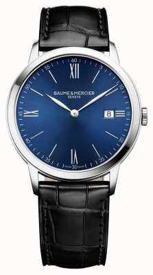 Baume & Mercier |男士classima |黑色皮革表带|蓝色表盘| BM0A10324