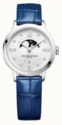 Baume & Mercier |女式|蓝色皮革|月相银表盘| M0A10329