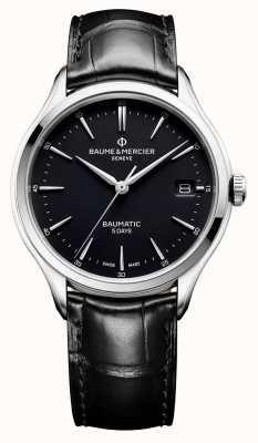 Baume & Mercier |男士克利夫顿| baumatic |黑色皮革|黑色表盘| BM0A10399