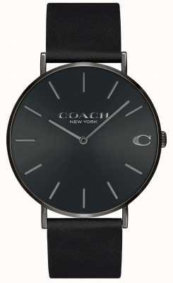 Coach |男士查尔斯|黑色皮革表带|黑色表盘| 14602434