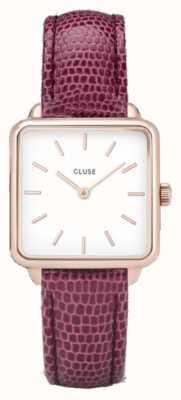 CLUSE | latétragone|粉色蜥蜴皮带|白色表盘| CL60021