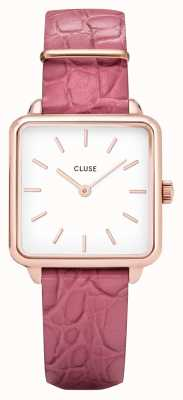 CLUSE | latétragone|粉色鳄鱼皮表带|白色表盘| CL60020