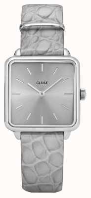 CLUSE | latétragone|灰色鳄鱼皮表带|银色表盘| CL60018