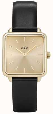 CLUSE | latétragone|黑色皮革表带|金色表盘|金案 CL60004