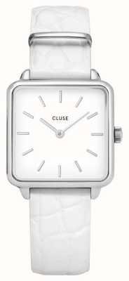 CLUSE | latétragone|白色鳄鱼皮表带|白色表盘| CL60017