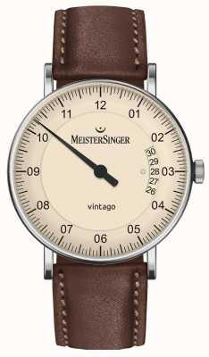 MeisterSinger |男士vintago |自动|棕色皮革|奶油色表盘| | VT903