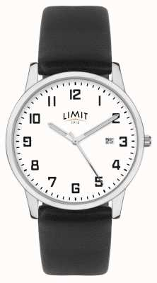 Limit |男士黑色皮表带|银色/白色表盘| 5741.01