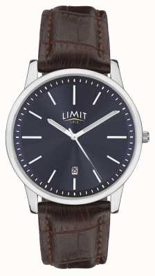 Limit |男士棕色皮表带|蓝色表盘|银色外壳| 5745.01
