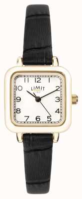 Limit |女士黑色皮革表带|银表盘|金盒| 60059.01