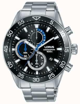 Lorus |男士计时码表|黑色表盘|不锈钢手链| RM335FX9
