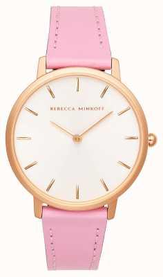 Rebecca Minkoff 女装专业|粉色皮革表带|银色/白色表盘| 2200290