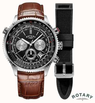 Rotary |男士|飞行员计时手表|可互换表带| GS00100/04/KIT