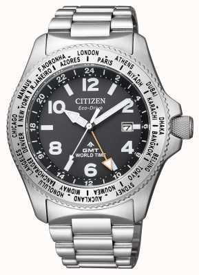 Citizen 男士生态驱动器Promaster GMT黑色表盘精钢腕表 BJ7100-82E