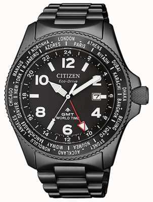 Citizen |男士生态驱动器promaster gmt |黑色表盘|灰色pvd BJ7107-83E