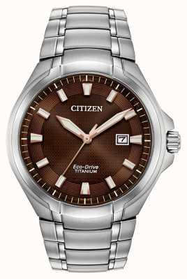 Citizen |男士生态驱动器|钛手链|棕色表盘| BM7431-51X