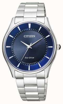 Citizen |男士环保驱动器|不锈钢手链|蓝色表盘| BJ6480-51L