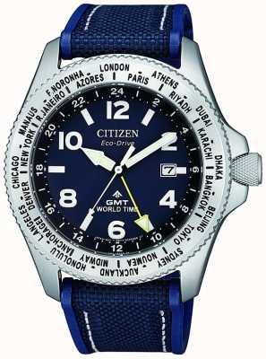 Citizen 男士生态驱动器Promaster GMT蓝色表盘蓝色帆布表带手表 BJ7100-15L