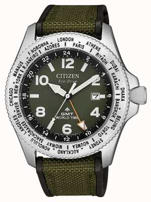 Citizen |男士Promaster GMT生态驱动器|绿色帆布| BJ7100-23X