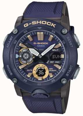 Casio | g-shock碳核心世界时间|蓝色橡胶表带| GA-2000-2AER