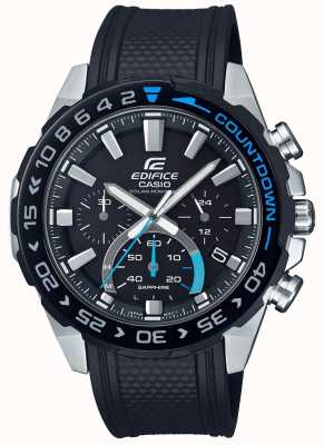 Casio |大厦太阳能|黑色橡胶表带|黑色计时码表表盘 EFS-S550PB-1AVUEF