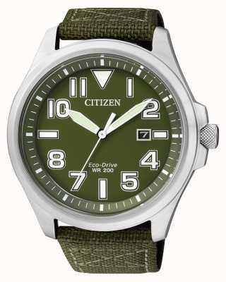 Citizen |男士环保驱动器|绿色尼龙表带|绿色表盘| AW1410-32X