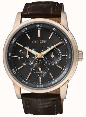 Citizen |男士环保驱动器|棕色皮革表带|黑色计时表盘| BU2013-08E