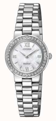 Citizen |女士环保驱动器|水晶盒|银手镯| EW9820-89D