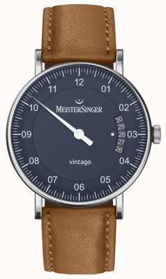 MeisterSinger |男士vintage |自动|棕色皮革|蓝色表盘 VT908