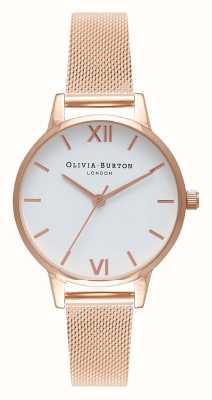 Olivia Burton |女装|玫瑰金网状手链|白色表盘| OB16MDW01
