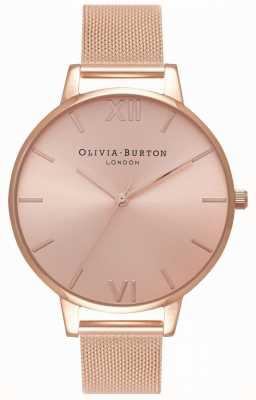Olivia Burton |女士|大阳光表盘玫瑰金网手链| OB16BD102
