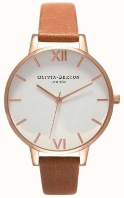 Olivia Burton |女士|大白色表盘棕褐色皮带| OB16BDW19