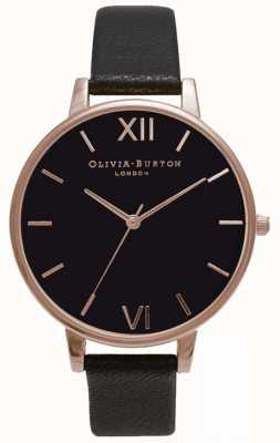 Olivia Burton |女士|黑色表盘|黑色皮革表带| OB15BD66
