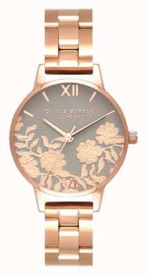 Olivia Burton |女士|蕾丝细节表盘玫瑰金手链| OB16MV88