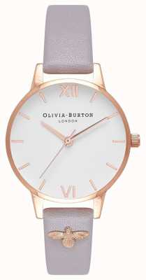 Olivia Burton |女士| 3d蜜蜂|装饰皮革灰色丁香表带| OB16ES11