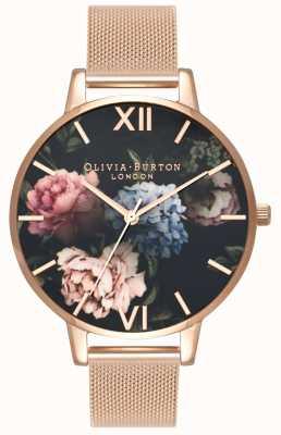 Olivia Burton |女士|黑色花束表盘|玫瑰金网手链| OB16WG52