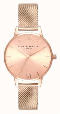 Olivia Burton |女士| midi |阳光表盘玫瑰金网手链| OB16MD84