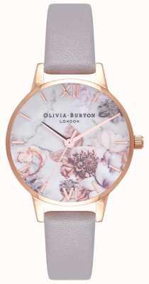 Olivia Burton |女士|大理石花香|灰色丁香皮表带| OB16CS14
