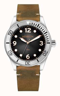 Michel Herbelin |男士|奖杯|黑色表盘|棕色皮革表带| 12260/T14BR
